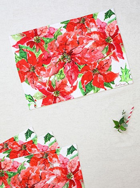 Poinsettia Watercolor Placemats by April Cornell