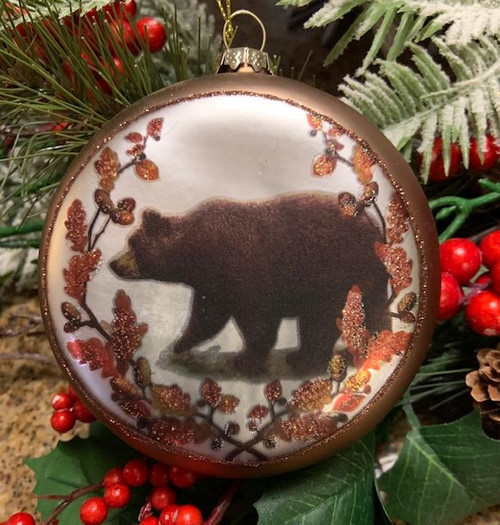 Walking Bear Glass Ornament