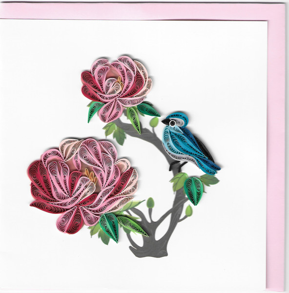Quilled Peony Greeting Card