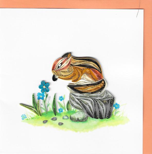 Quilled Chipmunk Greeting Card