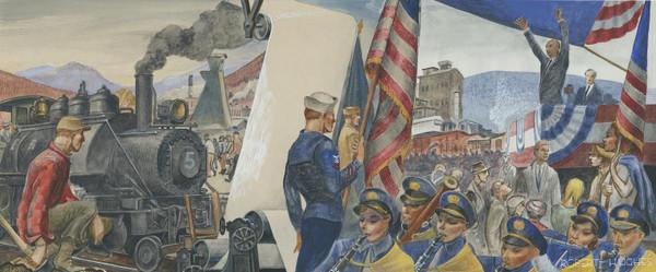 President Eisenhower's Lincoln, NH Visit Mural Replica