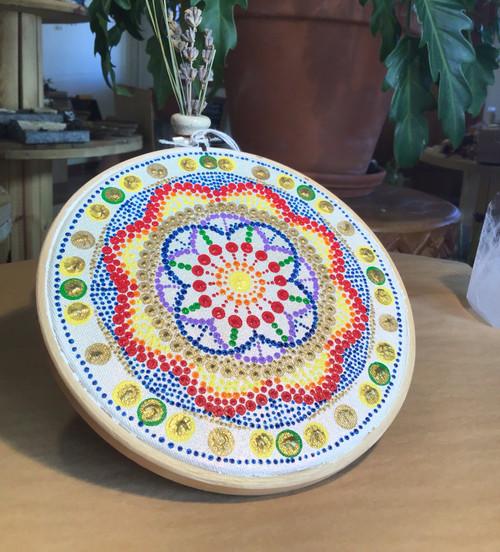 "Mandala: Original Painting 6"" Hoop"