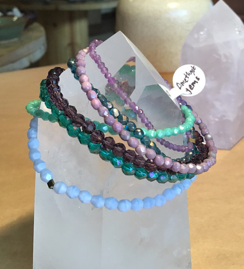 Bracelet: Czech Glass or Amethyst Beaded Stretch Bracelets