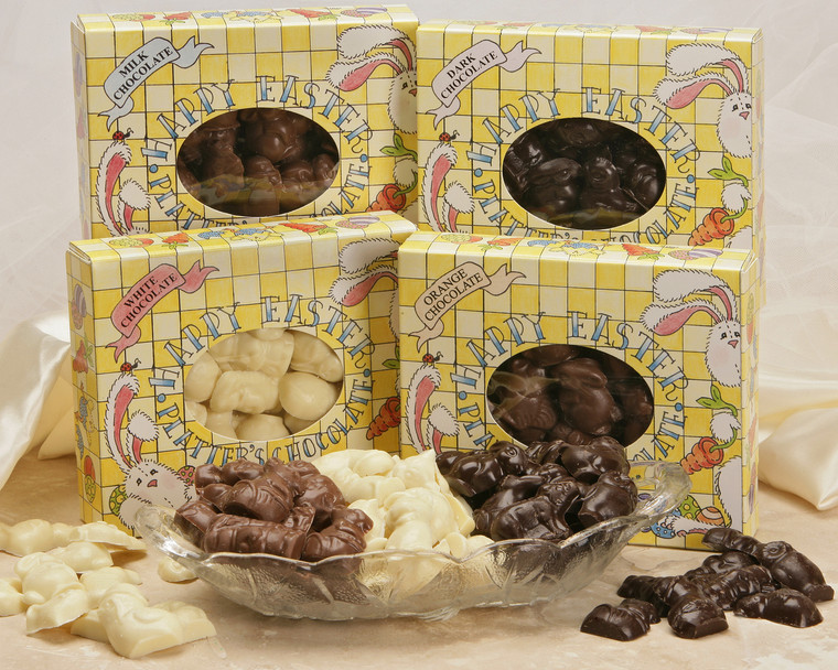 Chocolate Easter Flats are available in Milk Chocolate, Dark Chocolate, Orange Chocolate, White Chocolate and Dark Orange Chocolate.