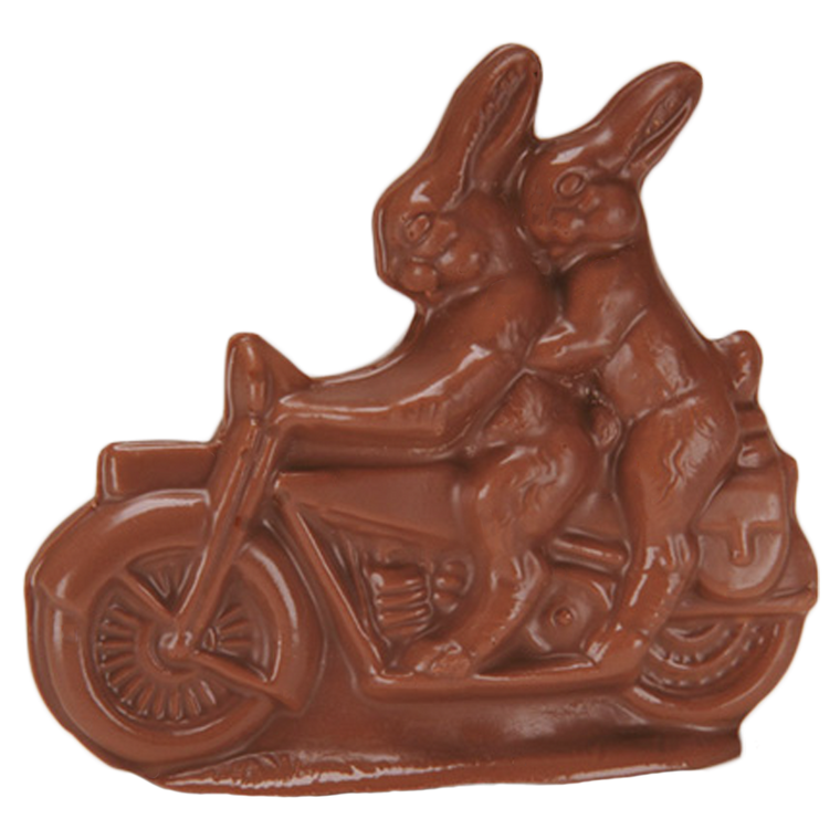 Chocolate Bunnies on Motorcycle in Milk Chocolate or Orange Chocolate