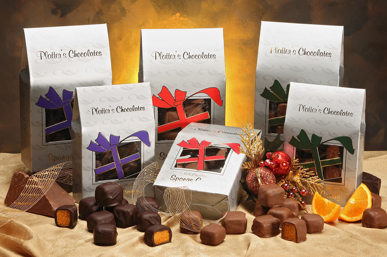 Platter's Chocolates Sponge Candy in Christmas Box.