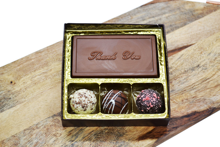 Chocolate Thank You Bar & 3 Truffles
