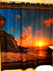 Guam Sunset on the Beach Tropical Scenery - Shower Curtain - 69x70 Inches