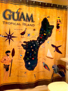 Guam Tropical Island Map with Flora and Fauna Shower Curtain - 69x70 Inches