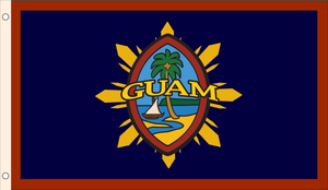 Modern Guam Seal (Black Outline) with Philippine Sunburst