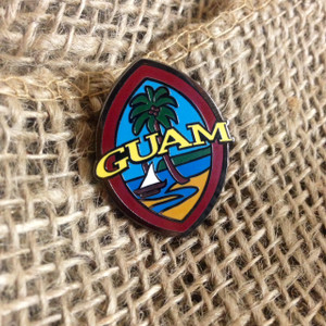 Modern Guam Seal Lapen Pin - 1.25 inches tall (Close front view)