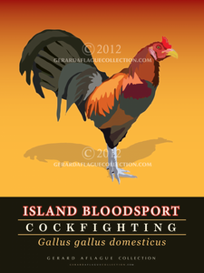 Island Bloodsport - Cockfighting Poster - 18x24