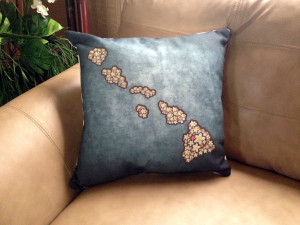 Heavy-Textured Hawaiian Islands in Plumeria Pillow - 18 x 18 inches
