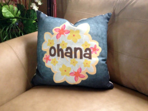 Ohana Hawaiian Textured Pillow w/Beige Back - 16 x 16 inches