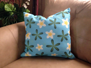 Heavy-Textured Plumeria in Hearts Pillow - 18 x 18 inches (Beige back)
