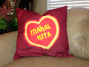 Mahal  Kita - Textured Pillow w/Red Back - 24x24 inches (Plain beige burlap back)