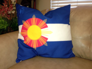 Colorado Flag w/Philippine Starburst - Textured Pillow - 24x24 inches (Plain beige burlap back)
