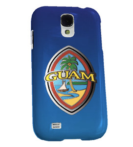 Modern Guam Seal Blue Flourish Motif Case for Samsung S4 & S4 Mini - Front View