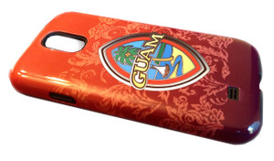 Samsung Galaxy S4 Tough Case w/Modern Guam Seal on red background with flourishes - Front