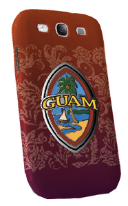 Samsung Galaxy S3 Tough Case w/Modern Guam Seal motif in Orange with flourishes - Front