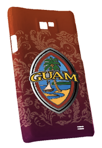 Samsung Galaxy S2 Standard Case w/Modern Guam Seal motif in Red with flourishes - Front