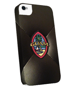 Embroidered Guam Seal on Black Leather Motif (Left)