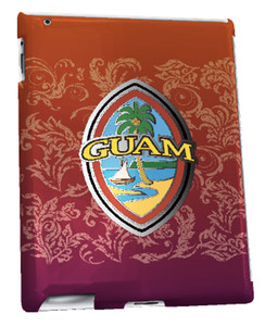 iPad 2, 3, and Retina Display w/ Modern Guam Seal on Red w/Flourishes