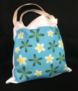 This Plumeria designed soft tote bag is printed on both sides. (Front)