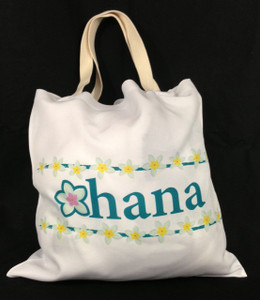 This Ohana designed soft tote bag is printed on both sides. (Front)