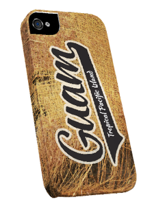 iPhone 5/5s - Guam Logo on Coconut Fiber - Snap-on Cover (Left view)