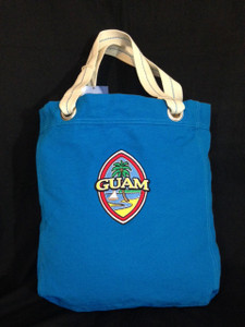 Modern Guam Seal Embroidered Tote Bag w/Handles - Front View