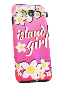 Samsung Galaxy S3 Tough Case w/Pink Island Girl Motif - Left View