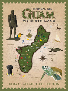 My Birth Land - Cultural Guam Map - Fine Art Poster Illustration - 18x24 inches