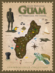My Heritage. My Home - Cultural Guam Map - Fine Art Poster Illustration - 18x24 inches
