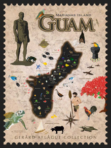 Customized Cultural Guam Map - Fine Art Poster Illustration - 18x24 inches