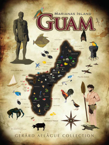 Island of Guam Grunge Map - 24x36 inches