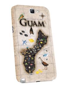 Samsung Note 2 Cover w/Antique Guam Map Motif - Left View