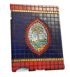 iPad 2, 3, or 4 - Blue Guam Seal Mosaic Motif Case (Right View)
