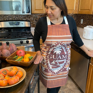 Brown Tribal Guam Seal Polyester/Cotton Full-Size Apron