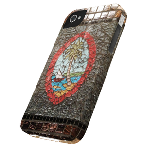 Brown Guam Seal Mosaic Motif - Snap-On Tough Cover (Right View)