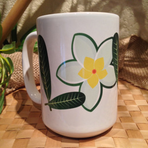 Plumeria w/Flower LOVE Motif - 15oz Large Mug
