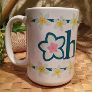 Ohana (Means Family) with Plumeria Flowers Mug - 15 oz (Left View)