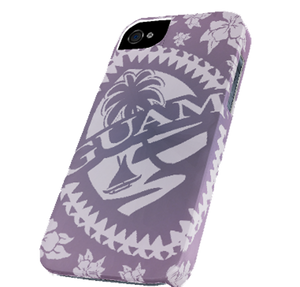 iPhone 5c Case & Cover w/Purple Hibiscus Tribal Guam Seal - Front View