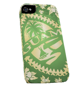 Green Hibiscus Tribal Guam Seal iPhone Case