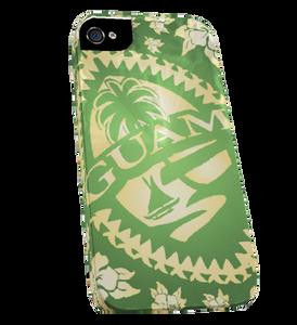Green Hibiscus Tribal Guam Seal iPhone Case