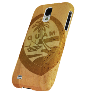 Samsung Galaxy S4 Snap-On Tough Case w/Wood Etched Guam Seal Motif - Right View