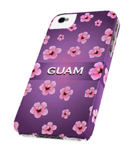 Purple Hibiscus w/Guam Motif iPhone Tough Case & Cover (Right View)