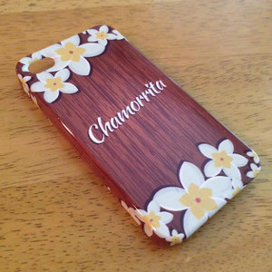 Chamorrita Wood and Plumeria Motif i-Phone Case
