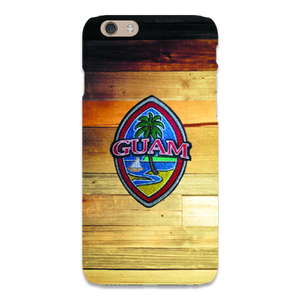 Embroidered Guam Seal on Rustic Wood Motif for iPhone Cases