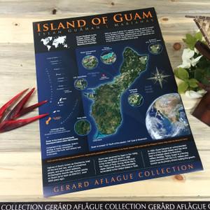 3-Poster Set: Modern Guam Map w/ Marianas Archipelago in Blue Motif